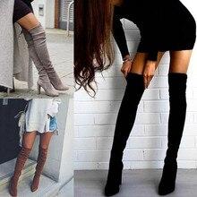 النساء الأحذية السوداء فوق الركبة أحذية الشتاء عالية مثير الإناث الخريف سيدة الفخذ أحذية عالية طويلة الأحذية 35