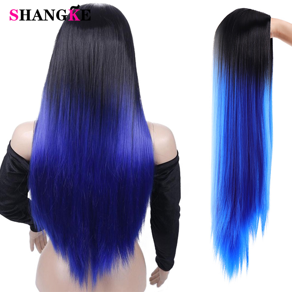 SHANGKE Long Mixed Natural Straight Synthetic Cosplay Wig Dark Root Ombre Color Natural Nalure Wigs For Women African American