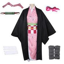 Full Set Demon Slayer Kimetsu no Yaiba Kamado Nezuko Cosplay Costume Kimono Wigs Geta Shoes Headwear Japan Anime Halloween Dress(China)