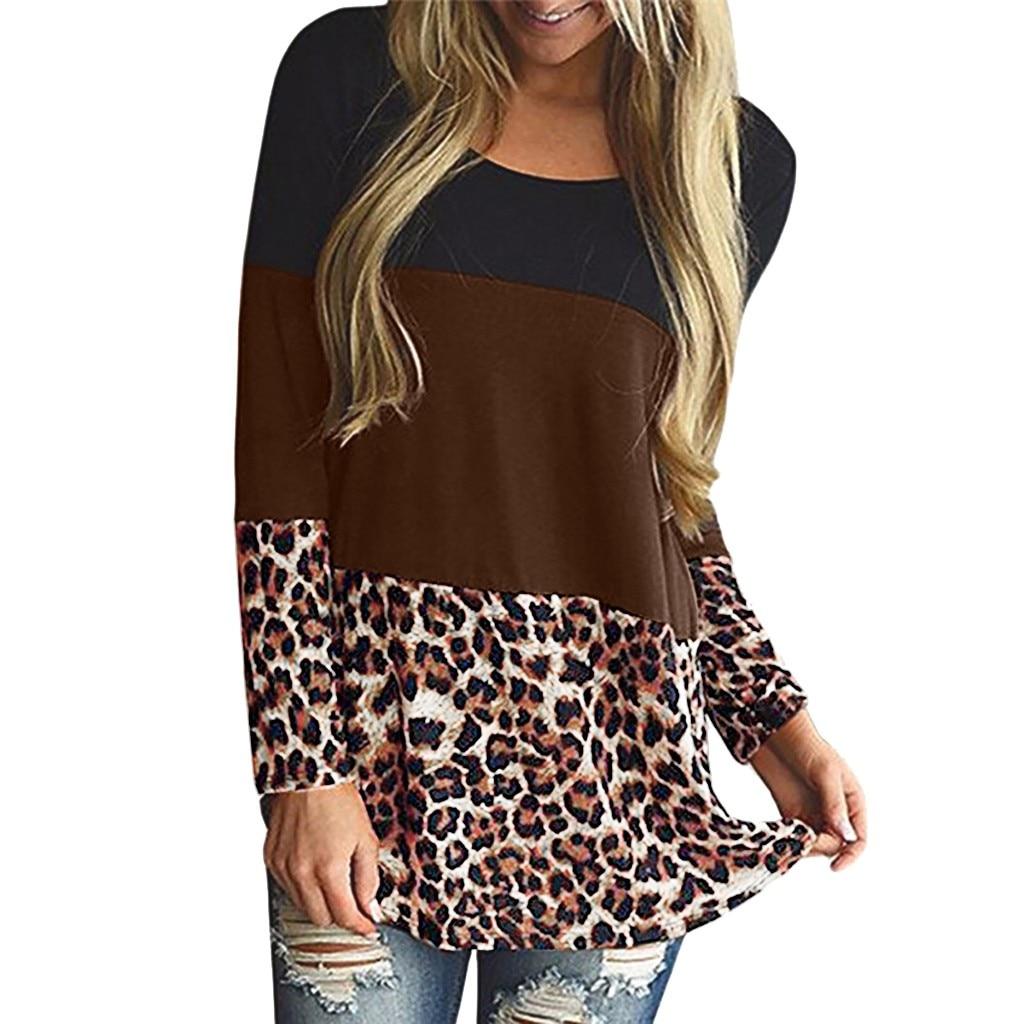 Womens Maternity Long Sleeve Leopard Print Nursing Top T-shirt For Breastfeeding