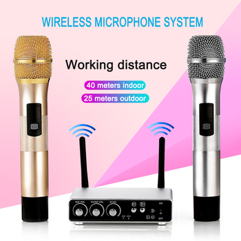 Wireless Microphone K28 UHF Durable System Dual Musical Learning Instrument Parts Channel Cordless Mic for KTV Karaoke