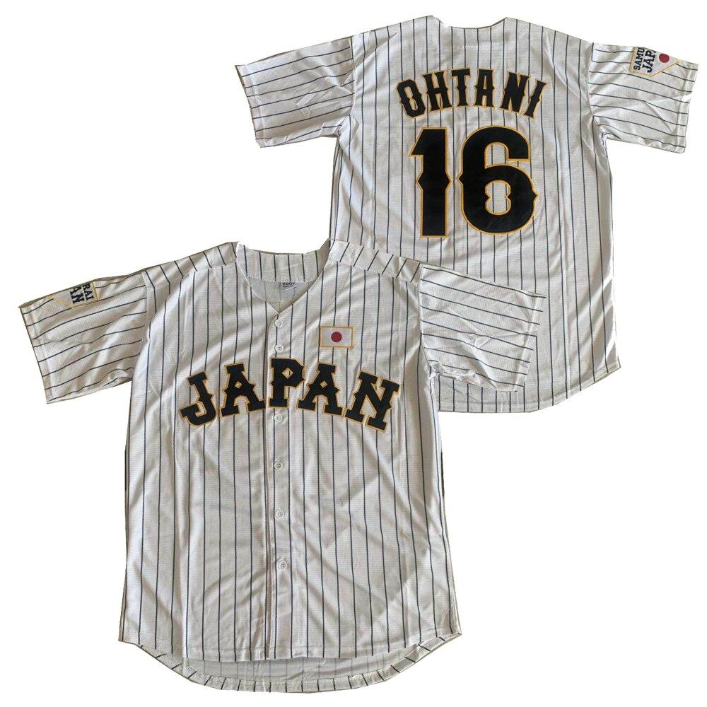 BG baseball jerseys Japan 16 OHTANI jerseys Outdoor sportswear Embroidery sewing White stripes black Hip-hop Street culture 2020