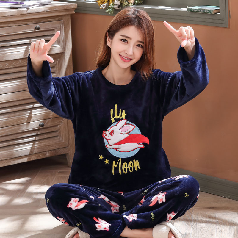 Long Sleeve Warm Flannel Pajamas Winter Women Pajama Sets Print Thicken Sleepwear Pyjamas Plus Size 3XL 4XL 5XL 85kg Nightwear 271