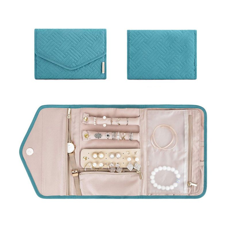 Travel Foldable Jewelry Organizer Roll Jewelry Case For Journey-Rings Necklaces