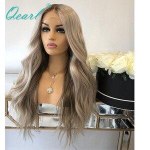 Image 4 - Srebrny szary kolor ludzki włos koronki przodu peruki Ombre faliste peruwiańskie włosy Remy bielone węzłów 13x4 środkowa część 130% 150% Qearl
