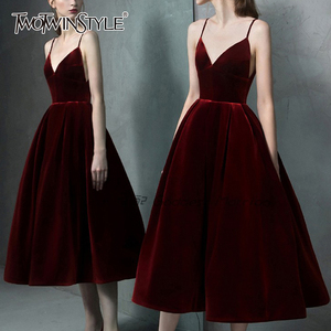 TWOTWINSTYLE Elegant Velvet Women Party Dress V Neck Spaghetti Strap High Waist Backless Sexy Dresses Female Fashion Clothes New