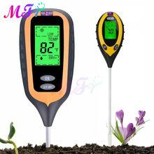 Testeur d'humidité de sol 4 en 1 rétro-éclairé, détecteur de PH numérique, moniteur d'humidité du sol, testeur de lumière du soleil, hygromètre, thermomètre