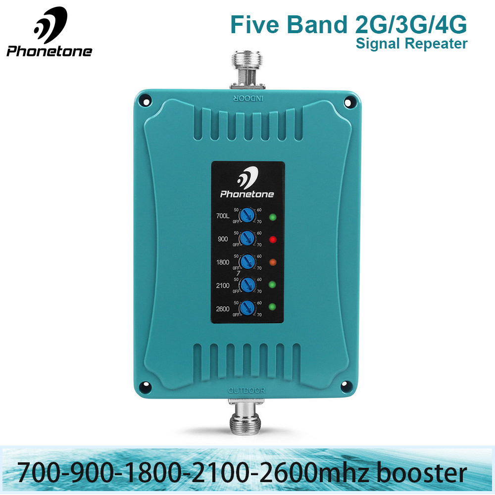 Cellular Signal Amplifier GSM 900/LTE 700/1800/UMTS 2100 / 2600 MHz 2G 3G 4G Five Band Repeater Mobile Cell Phone Signal Booster