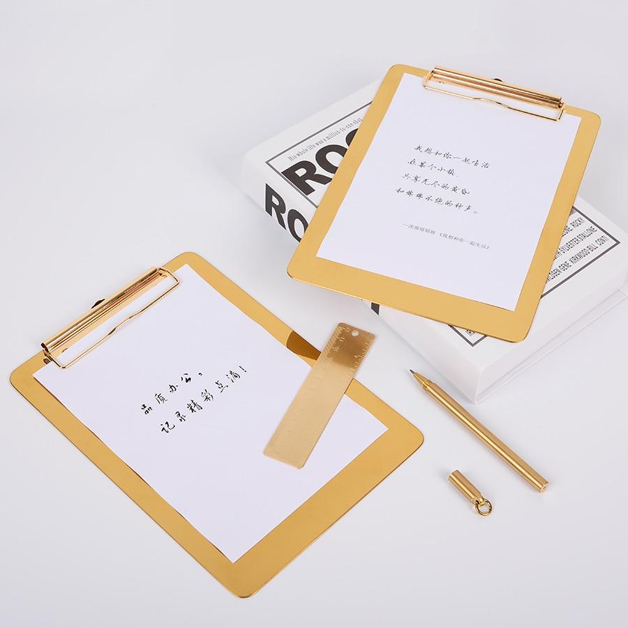 Writing Splint Gold Stainless Steel Folder Ins Point Menu Folder Metal Multifunctional A4 Folde Folders  File Organizer