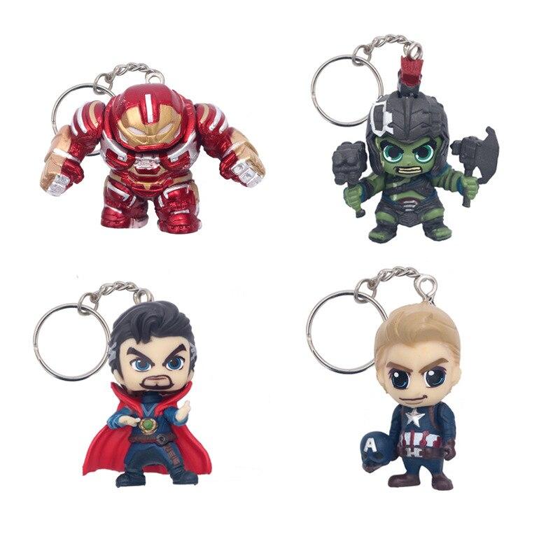 Avengers Superhero Key Chain Cartoon Ring Q Action Figure Toy PVC Doll SpiderMan