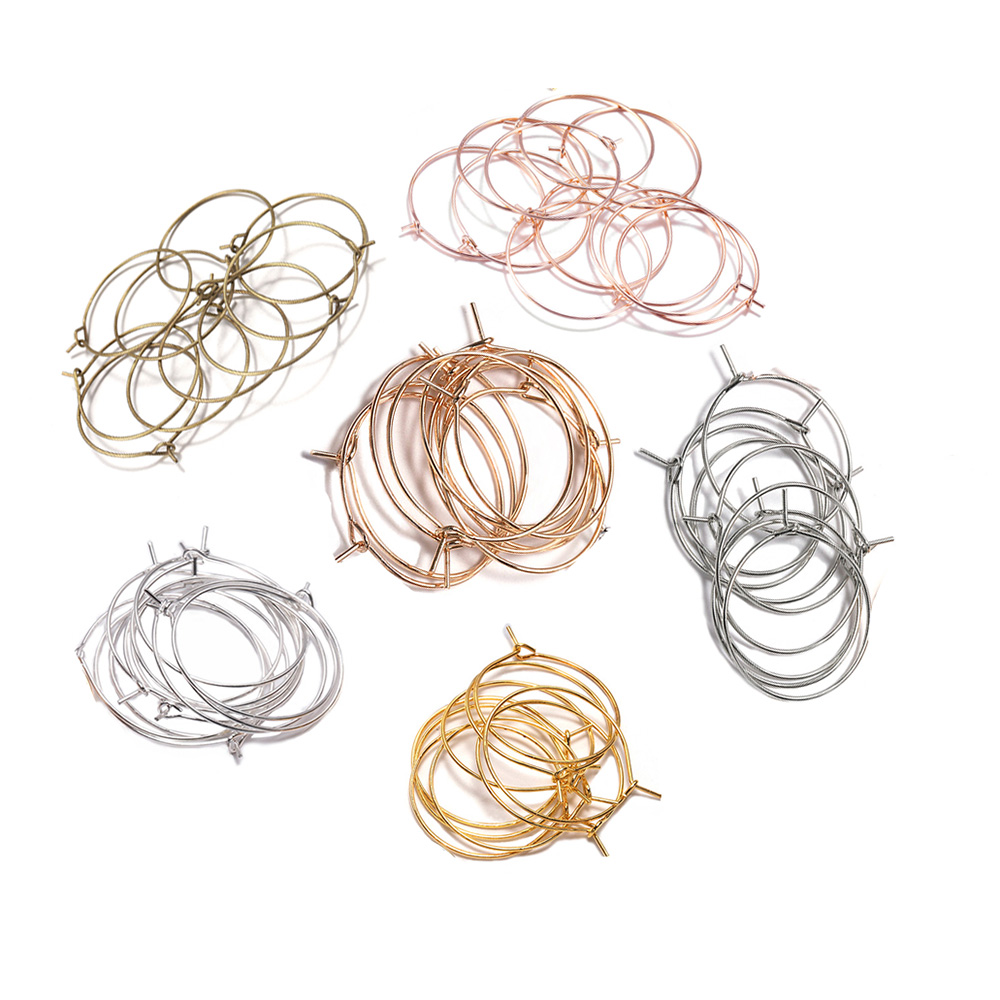 50 pces 20 25 30 35mm ouro/ródio/kc ouro metal grande círculo fio aros brincos suprimentos para joias descobertas acessórios
