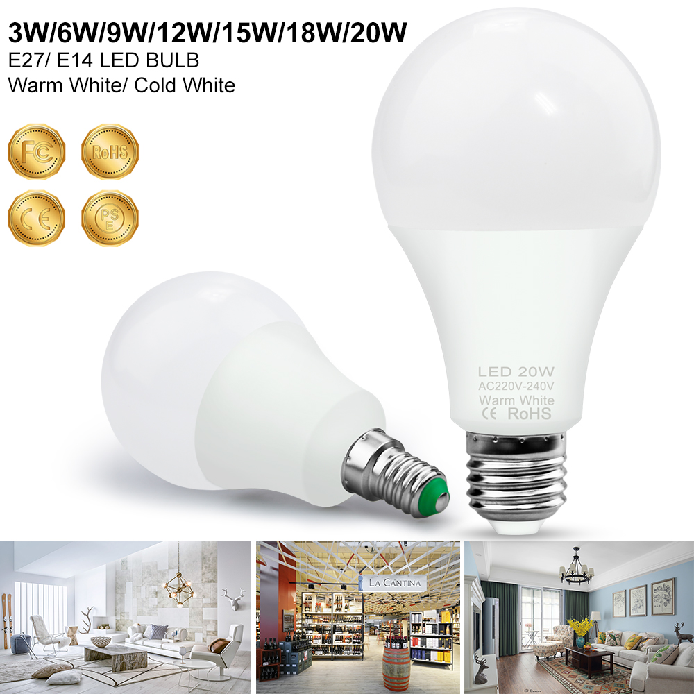 E27 LED Bulb 20W E14 LED Light Bulb 240V Bombillas LED Lamp 3W 6W 9W 12W 15W 18W Corn   Light 220V Ampoule Home Lighting 2835SMD