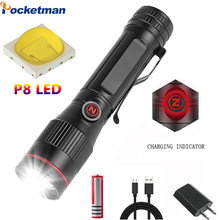 Powerful P8 LED Light Special Z-shaped light USB Rechargeable Flashlight Zoomable torch Waterproof 18650 Easy to Carry Outdoor(China)