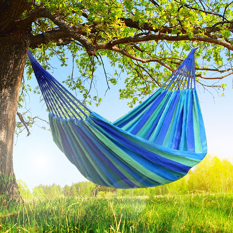 Camping Hammock Colorful Strip Canvas Double Hamak Rede De Dormir Hamac Swing Chair Bed Outdoor Hamaca Garden Furniture Muebles