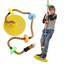 Kids Tree Swing Climbing Rope With 12 Inch Platforms Disc Tree Swing Seat Outdoor Indoor Swings And Swing Set Accessories #Y cheap ISHOWTIENDA CN(Origin) Cloth 4-6y In-Stock Items Type