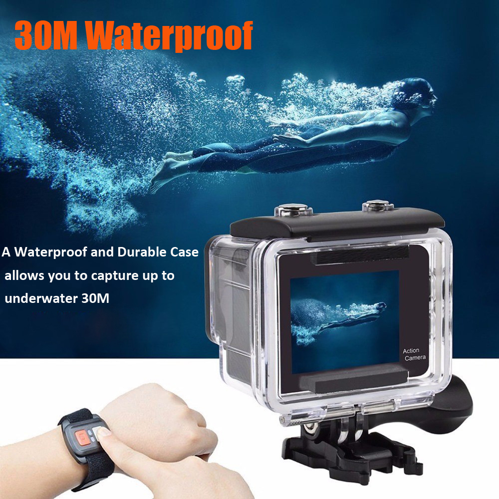 """4K WiFi Action Camera 2.0"""" Touch Screen 12MP 170D Sports Camera 30M Go Waterproof Pro Heltmet Video Recording Camera 3"""