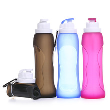 500ML Collapsible Silicone Water Bottle Folding Kettle Outdoor Sport Camping Travel Running