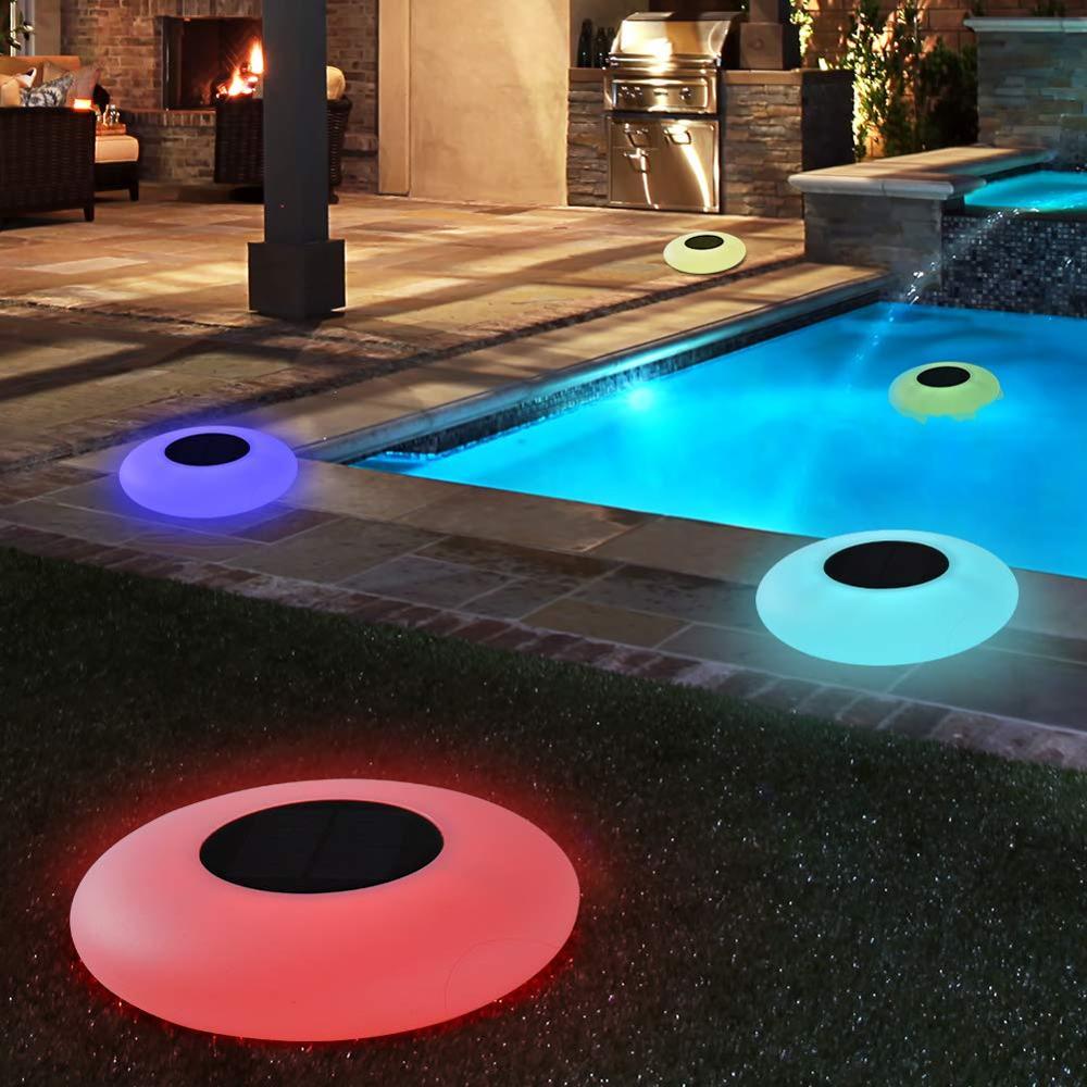 Плавающий Солнечный светильник для бассейна, 16 меняющихся цветов, уличсветильник светильник льник на солнечной батарее для внутреннего дв...