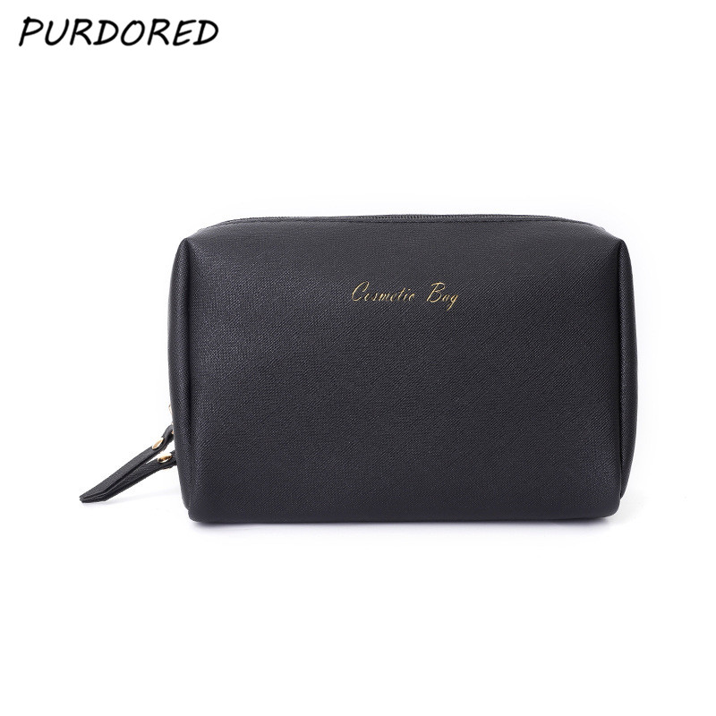 PURDORED 1 Pc Solid Women Cosmetic Bag PU Leather Waterproof Makeup Bag Travel Zipper Makeup Pouch Toiletry Beauty Case Neceser