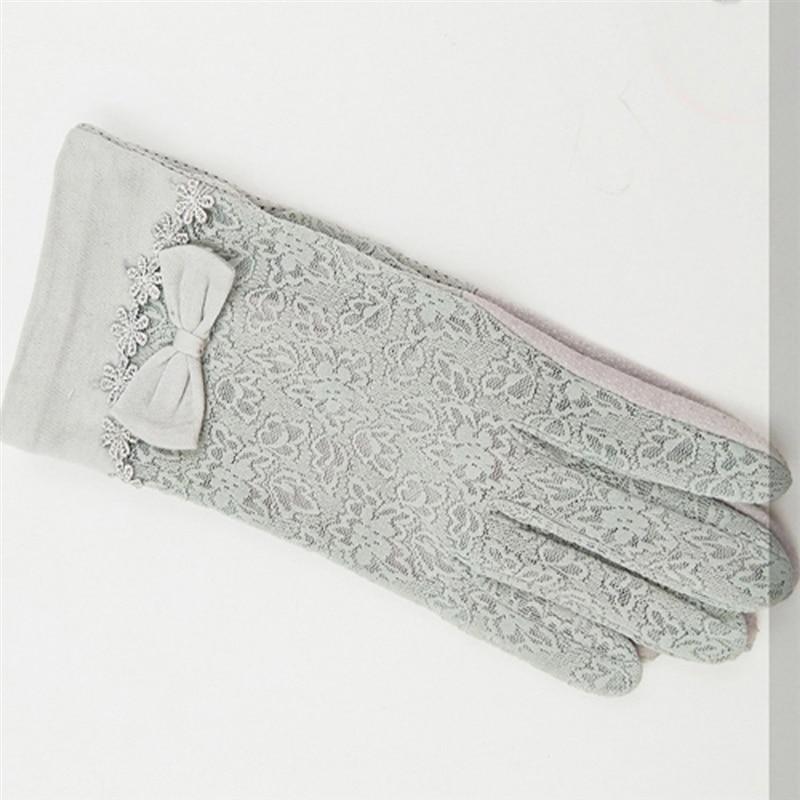 Summer Women Short Sunscreen UV Anti Slip Driving Lace Gloves Full Finger Sun Spring Touch Screen Ladies Bow Dress Gloves Gray