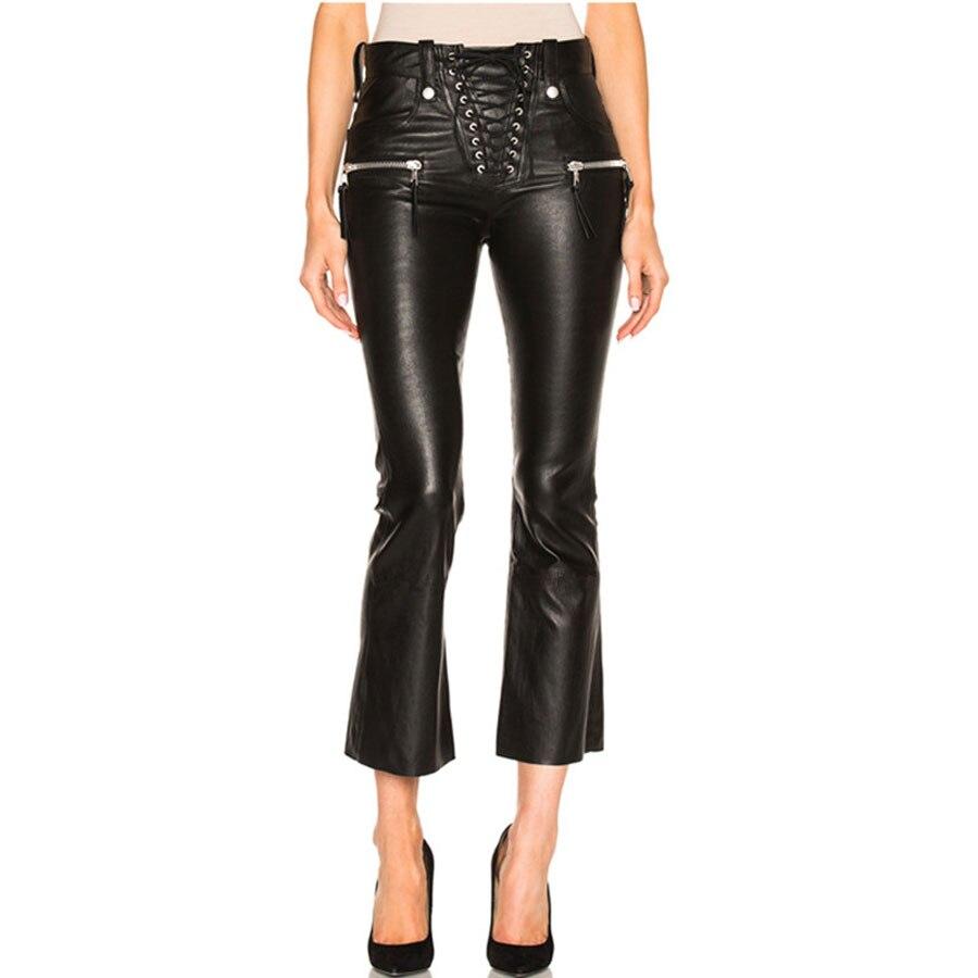 2018 ฤดูใบไม้ร่วงฤดูใบไม้ร่วงฤดูใบไม้ร่วงฤดูใบไม้ร่วงฤดูใบไม้ร่วงฤดูใบไม้ร่วงฤดูใบไม้ร่วงฤดูใบไม้ร่วงฤดูใบไม้ร่วงกางเกงสีดำกางเกงผู้หญิง Pu หนังกางเกง Streetwear คุณภาพสูงสไตล์อังกฤษขากว้างกางเกงขายาว-ใน กางเกงและกางเกงรัดรูป จาก เสื้อผ้าสตรี บน   3