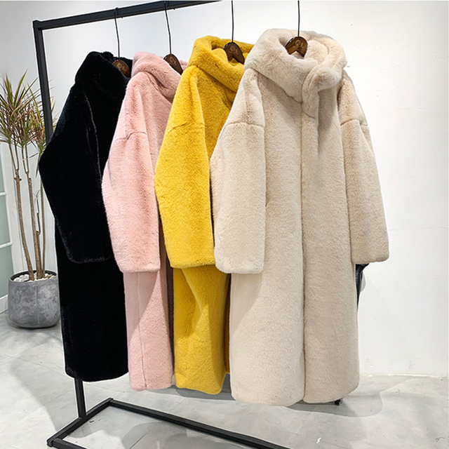 Female Winter New Faux Rabbit Fur Coat Thick Warm Flocking Women Luxury Long Fur Jacket Hooded Thick Warm Parka Coats