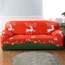 Funda de sofá elástica Europea estilo navideño, fundas elásticas para sofá para sala de estar, cubierta Universal de esquina seccional del sofá, sofá y sofá