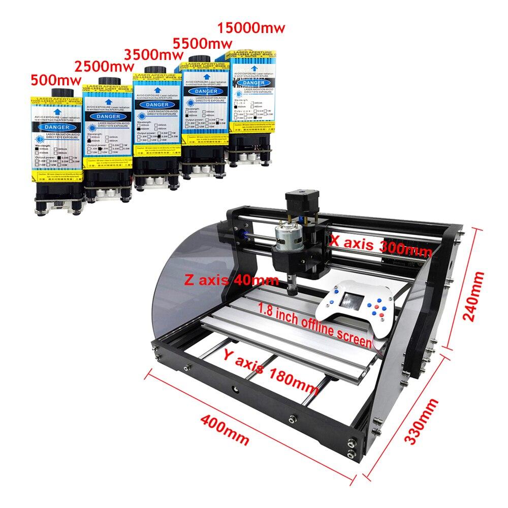 Neue 3018 Pro Max Laser Stecher DIY 3 Achse PCB Fräsen CNC Laser Gravur Maschine Holz Router Mit Offline Controller 0,5 W-15W