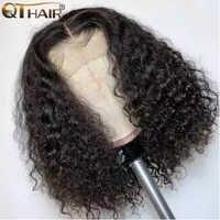 Pelucas de cabello humano rizadas con encaje Frontal para mujeres negras pre-arrancado con 4x4 Frontal cabello de bebé Remy Peluca de pelo brasileño Bob corto