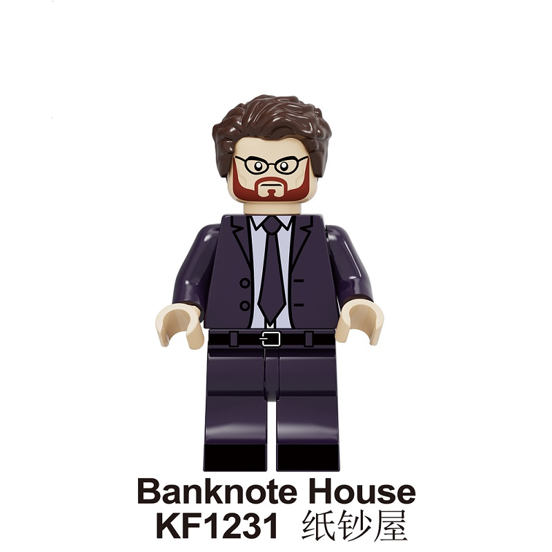 20Pcs Building Blocks Famous Suspense Movie Banknote House Money Heist Retired Killer Figures Toys For Children KF1231 image