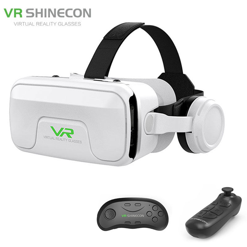 US $24.75 37% OFF|VR SHINECON G04EA 3D Virtual Reality Glasses Headset Helmets Game Stereo Headphone And VR Buletooth Gamepad For 4.7 6inch