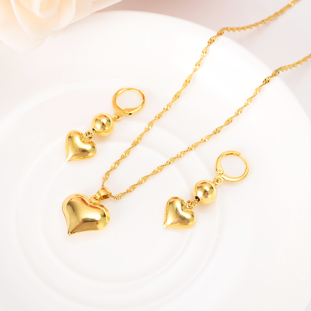 22 K 24 K Thai Baht Yellow Gold Filled lovely heart drop Earings pendant necklace Jewelry Party Cool Fashion beads kid gift