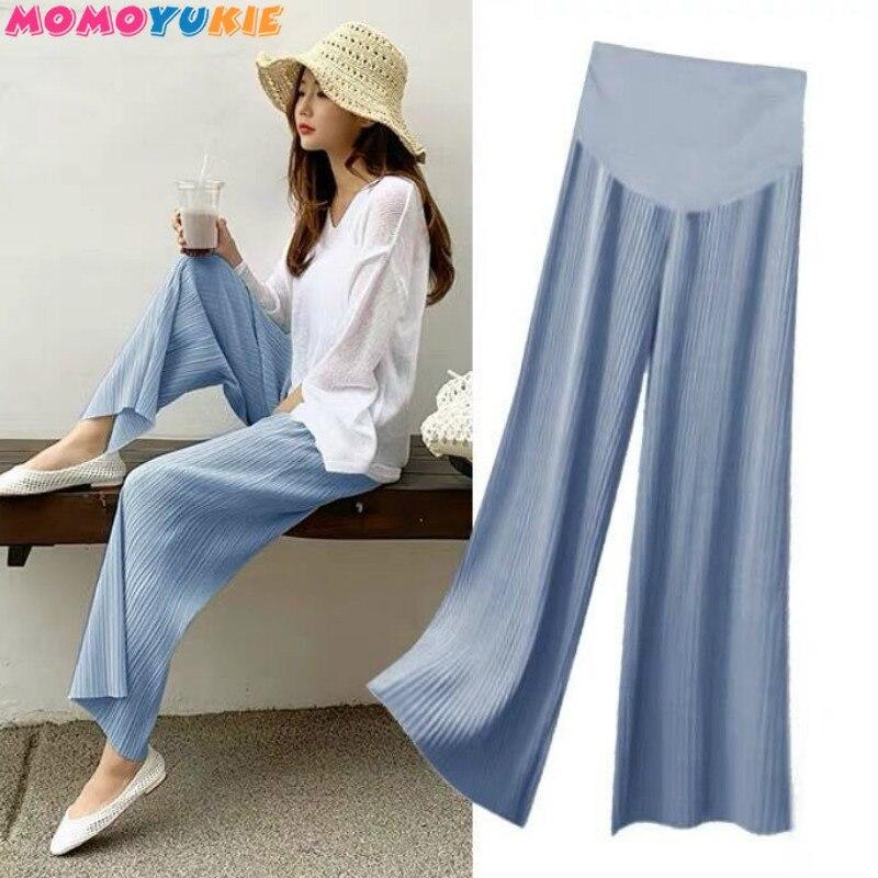 Брюки для беременных с широкими штанинами, повседневные свободные джинсы высокого качества, одежда для беременных