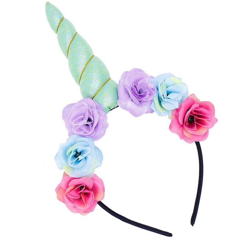 2019 new cute kids sweet flowers unicorn headband children birthday party flower tiara crown hair accessories unicorn headband in Hair Accessories from Mother Kids