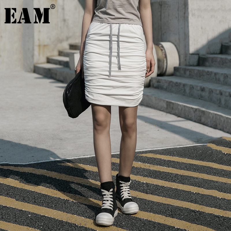 [EAM] High Elastic Waist White Brief Pleated Split Joint Half-body Skirt Women Fashion Tide New Spring Summer 2020 1W043