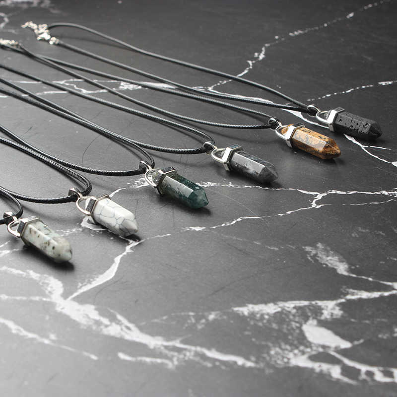 LanLi Hexagonal Column Necklaces Natural Crystal Pendants Stone Pendant Leather Chains Necklace For Women Fashion Jewelry