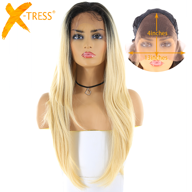 Long Straight Lace Front Synthetic Wig With Baby Hair X-TRESS Blonde 613 Ombre Color 13x4inch trendy tresse Wig Middle/Free Part
