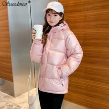 2019 Womens Fashion Hooded Thick Down Jacket Winter Glossy Silver Parka Outwear Cotton Padded Coats Female Overcoat