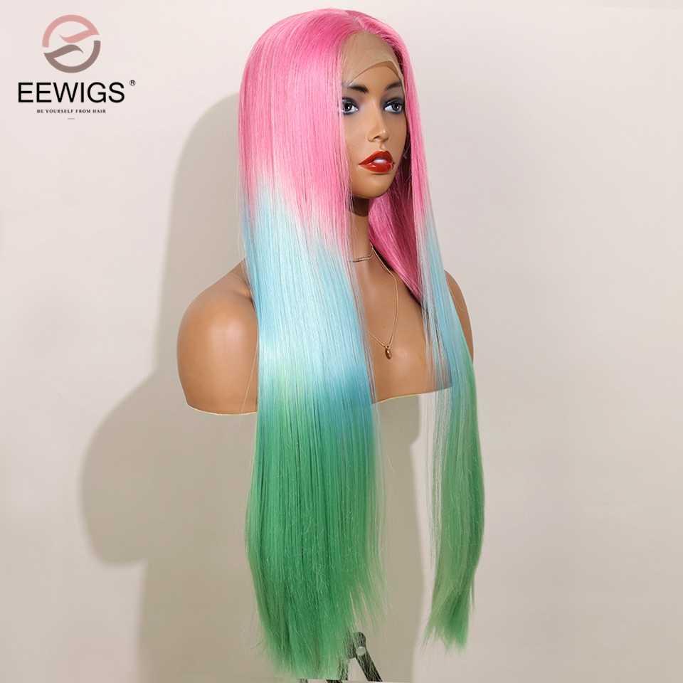 EEWIGS Synthetische Lace Front Pruik Met Natuurlijke Haarlijn Ombre Pruik Lijmloze Hittebestendige Haar Middelste Deel Cosplay Pruiken Voor Vrouwen
