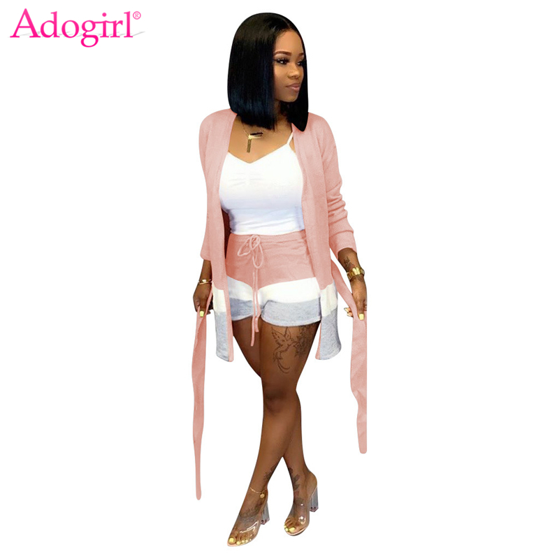 Adogirl Stripe Color Patchwork Cashmere Two Piece Set Women Fashion Casual Suit Long Sleeve Cardigan With Sashes + Shorts Outfit