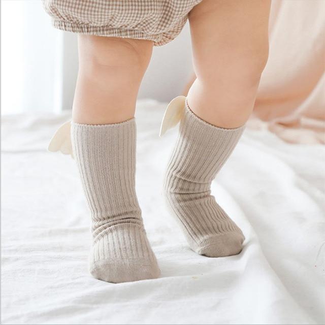 Baby Girls Knee High Socks  Angel wing  Summer Autumn Cotton Socks Solid Candy Color Kids Toddler  Short Socks For Children 4