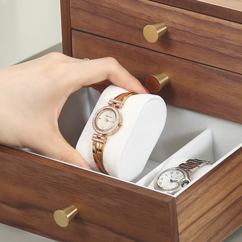 Casegrace Luxury New Large Wooden Jewelry Box Organizer 4 Drawer Wood Earring Ring Necklace Watch