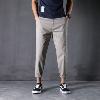 100% Cotton New Pants Man 28-48 Large Size Ankle-Length Harem Trousers Loose Comfortable Classic Causal Daily Clothes - 44, Light Gray