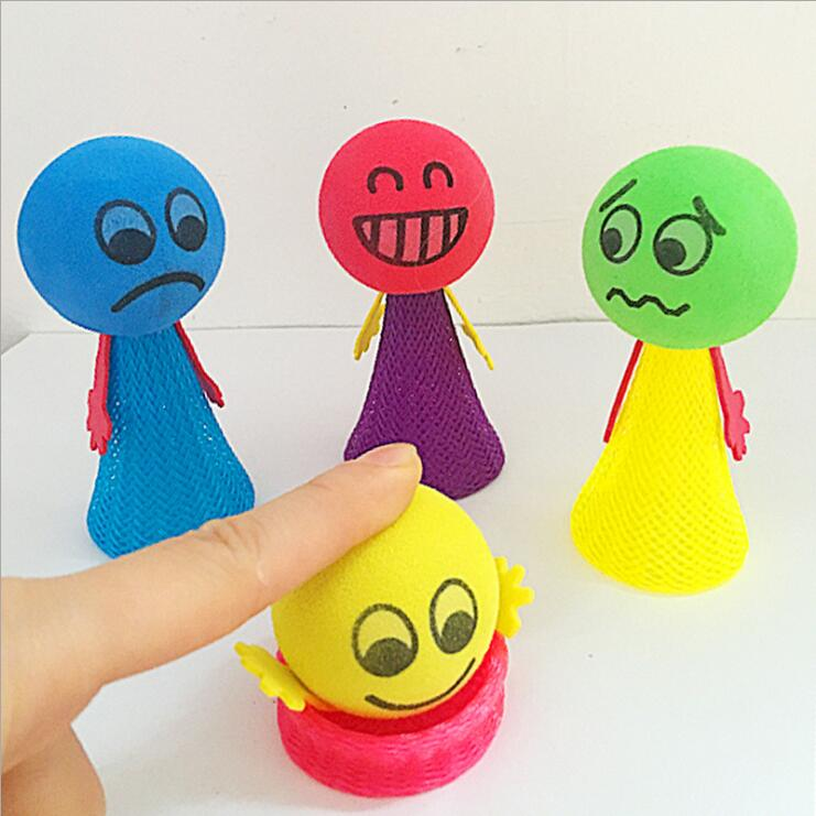 Decompression toys Jumping Doll Kids Bounce Ball Toys Educational Game Expressions Push&DownToys Gifts for Children Random-in Craft Toys from Toys & Hobbies