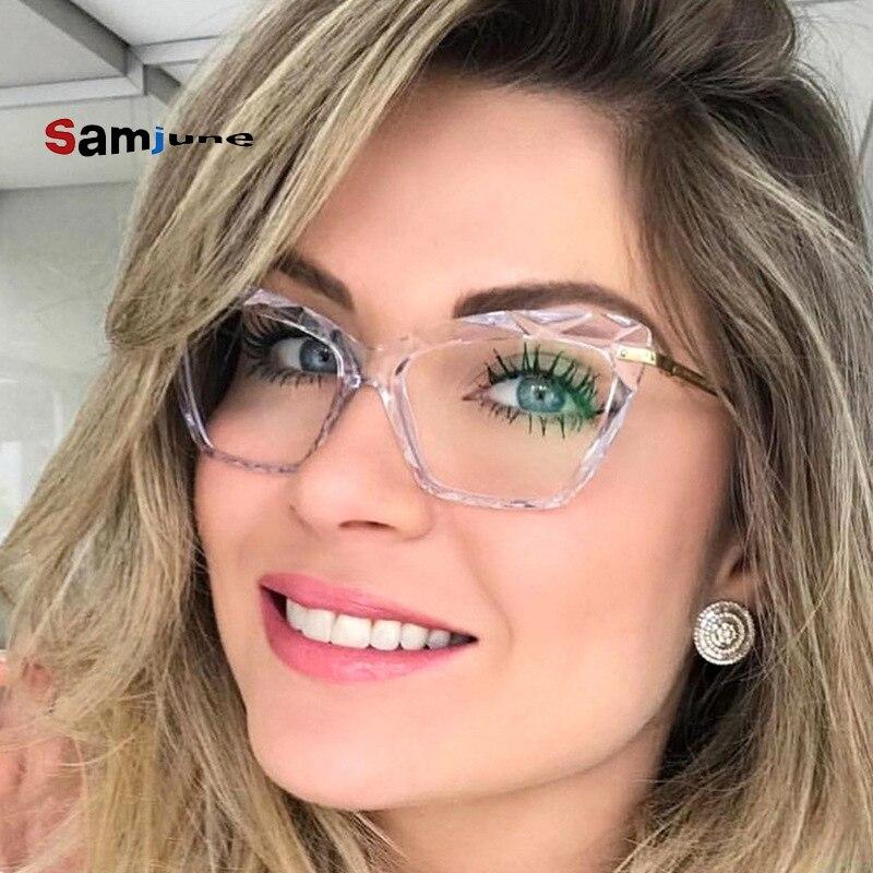Samjune Cat Eye Glasses Frames Women Retro Plastic Legs Brand Designer Eyeglasses Optical Fashion Computer Glasses