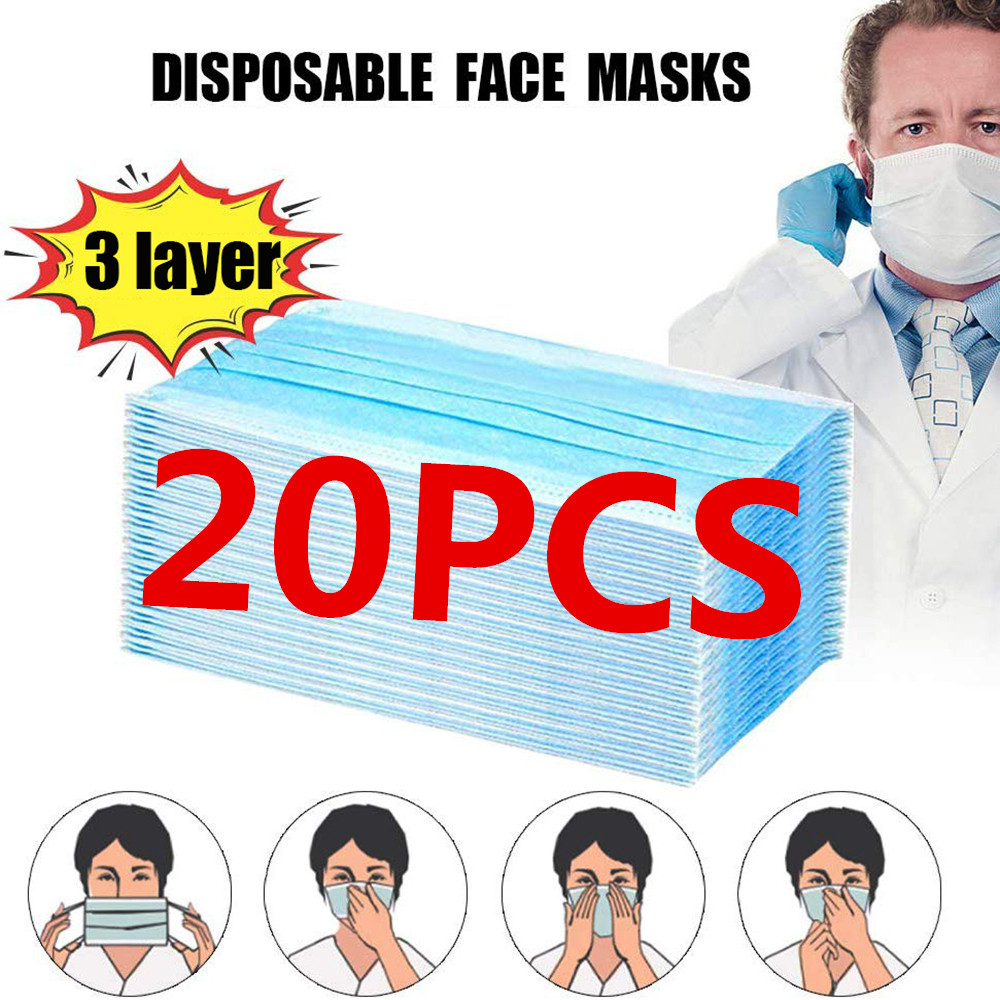 20Pcs FPP2/N95 KF94 Mask PM2.5 Dustproof Anti Haze Bacteria Protective Face Mouth Mask Ati-bacteria 3 Layer Breathable(in Stock)