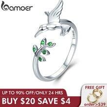 BAMOER אותנטי 925 סטרלינג כסף ציפור & אביב עץ עלים פתוח גודל אצבע טבעות לנשים סטרלינג כסף תכשיטי SCR323