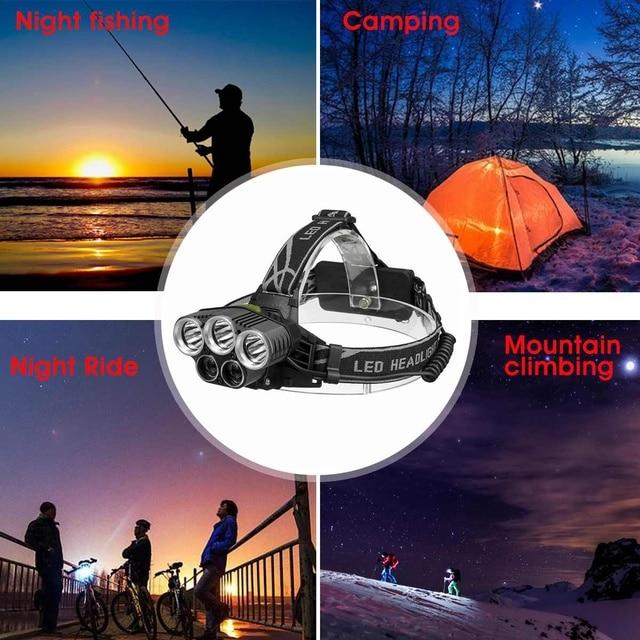 LED Headlight Headlamp 5LED Head Lamp Power Flashlight Torch Head Light 18650 Battery For Camping Fishing Hiking Riding 5