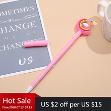 40 PCs Rainbow Cartoon Modeling Neutral Pen Soft Meng Students Write Black Office Signature Pen