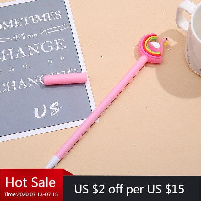 40 قطعة قوس قزح الكرتون النمذجة قلم محايد اللون لينة منغ الطلاب الكتابة أسود مكتب قلم توقيع